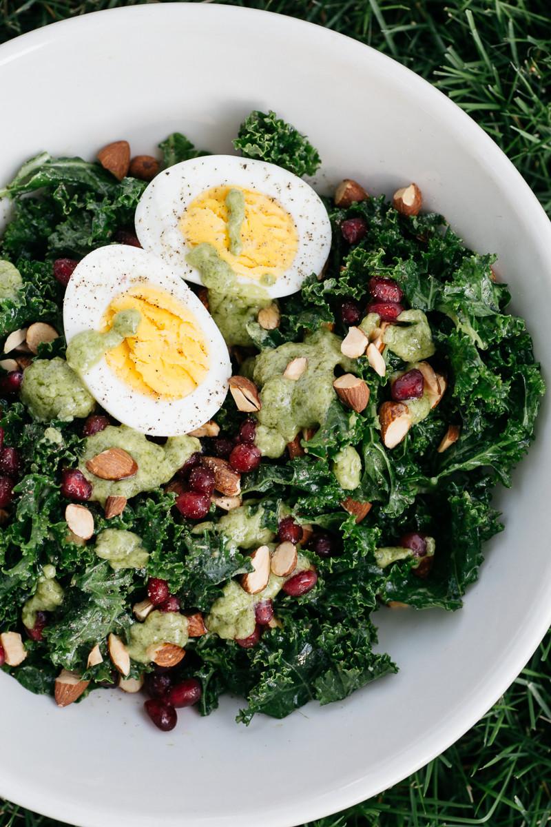 Kale, Pomegranate, and Almond Salad