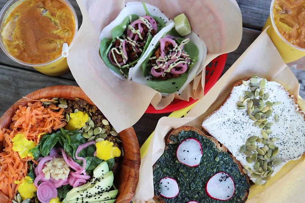 Curcuma's Kitchari Bowl, Toast, Raw Pecan Tacos, and Golden Mylk