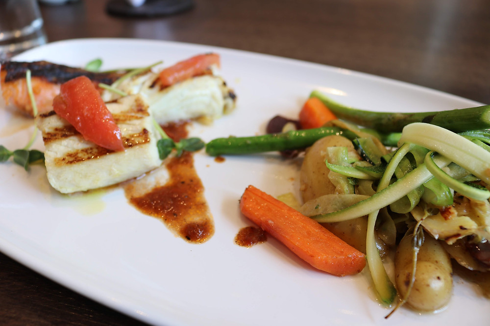 Trio of Grilled Fish with a Side of Veggies