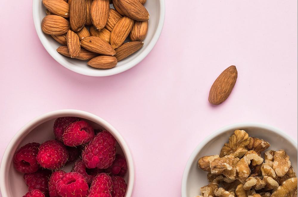 Raspberries, walnuts, and almonds