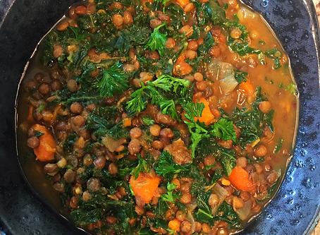 Sweet Potato, Kale, and Lentil Soup