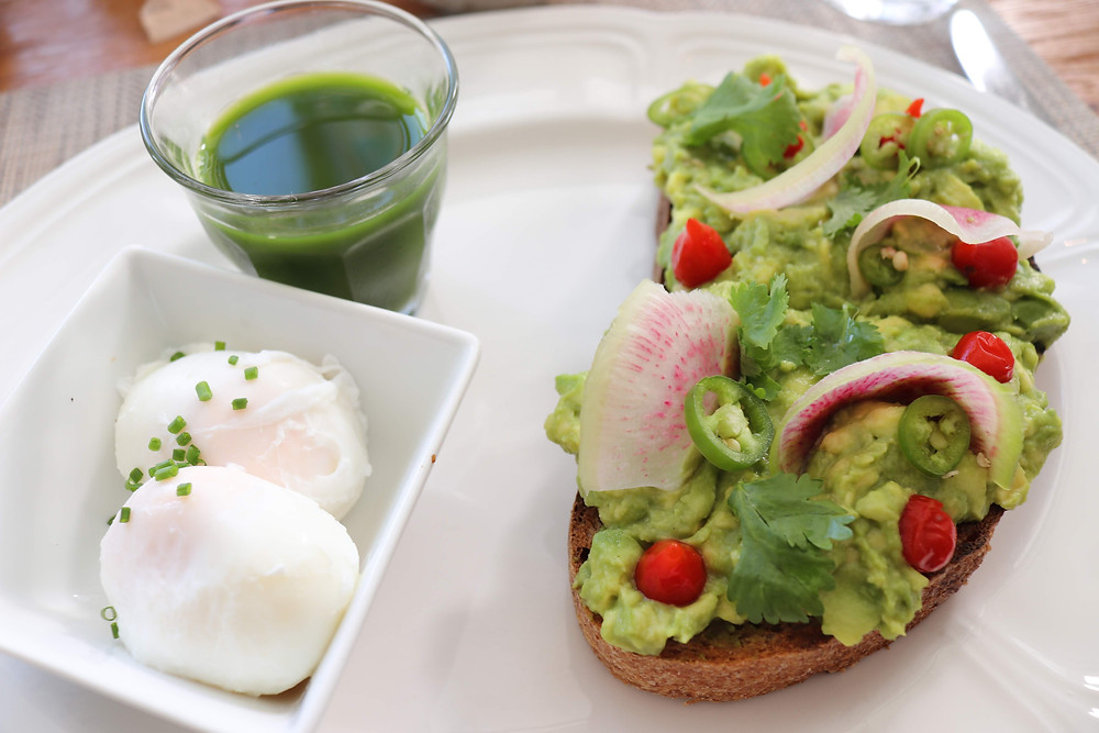 Avocado Toast, Poached Eggs, and Green Juice