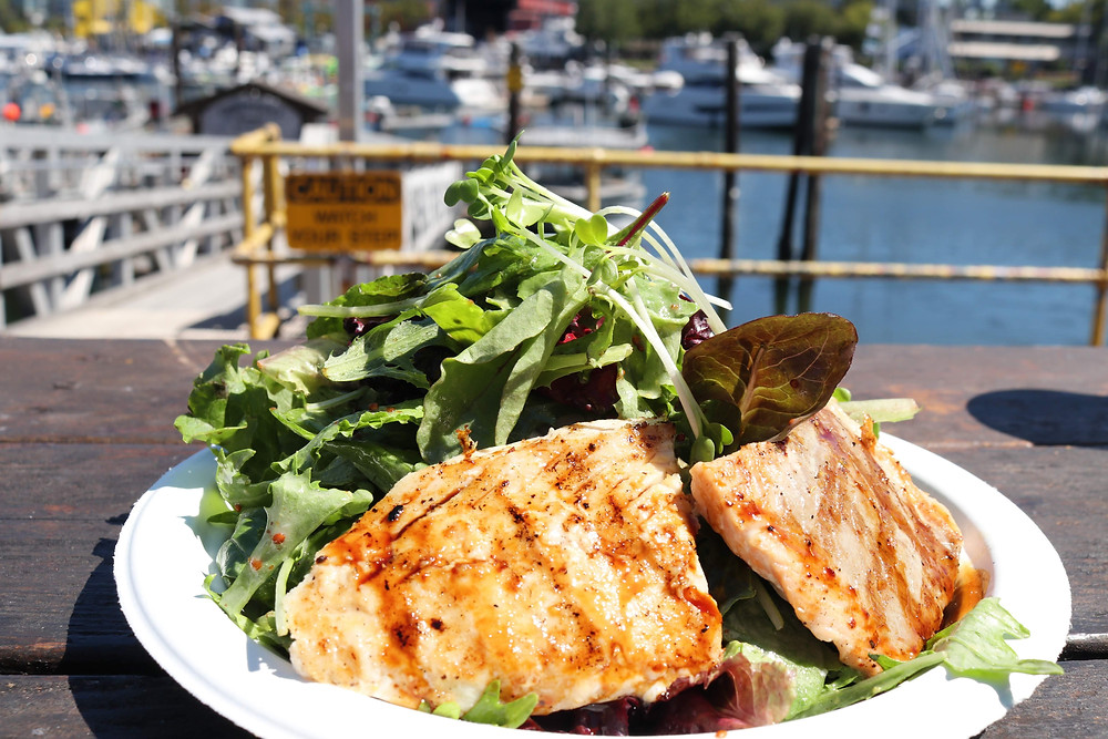 Go Fish Grilled Salmon and Green Salad