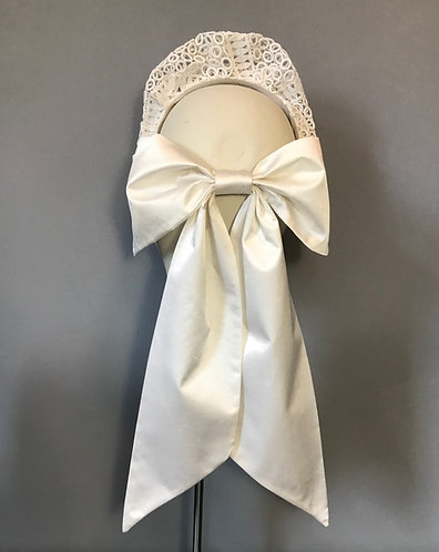 Bridal Crown in Vintage Lace with Silk Bow