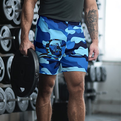 Camouflage Blue Athletic Long Shorts