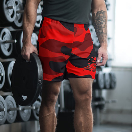 Camouflage Red Men's Athletic Long Shorts