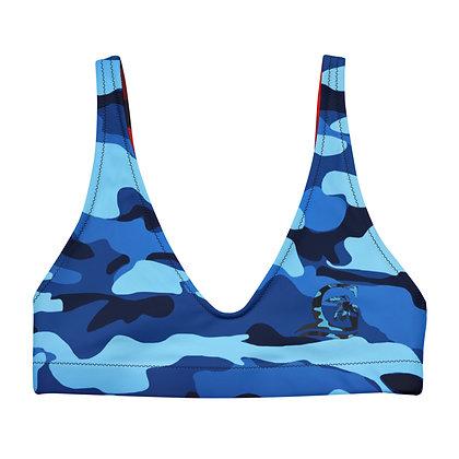 Blue Camo - Women's padded bikini top