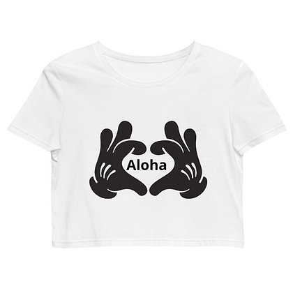 Hands making heart Aloha - Women's Organic Crop Top