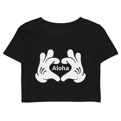 Hands making heart Aloha - Women's Organic Crop Top BLACK