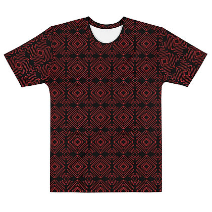 Scribble line Diamonds RED  - Men's silky smooth Dress shirt