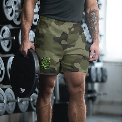 Camouflage Green Men's Athletic Long Shorts