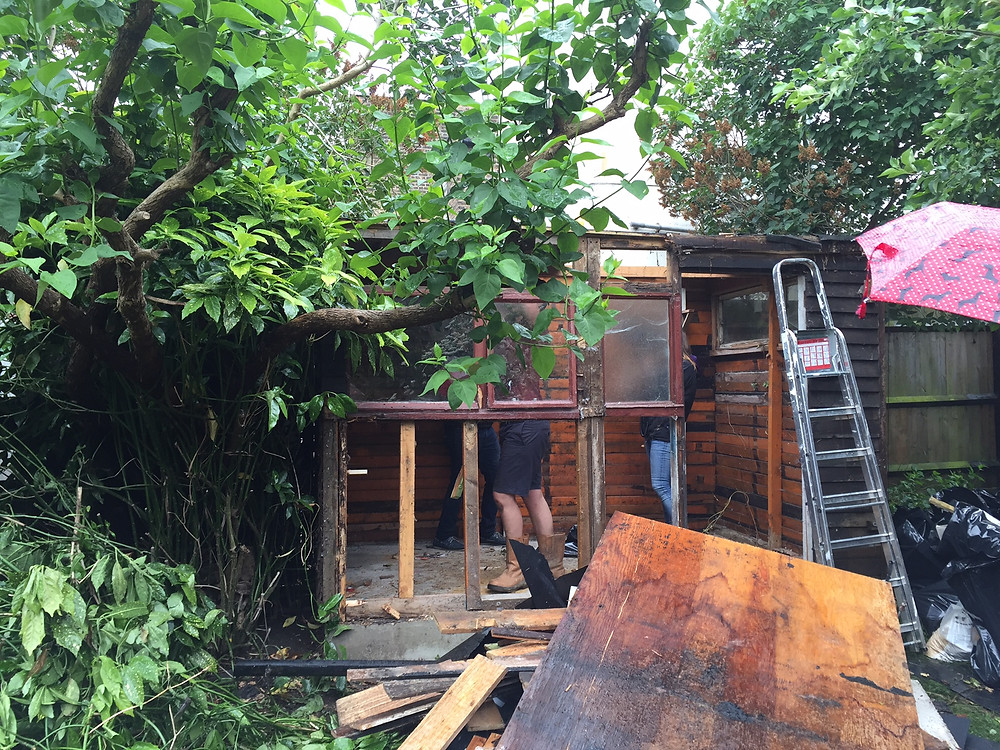 A wet day while demolishing the existing shed! Great to get the build started.