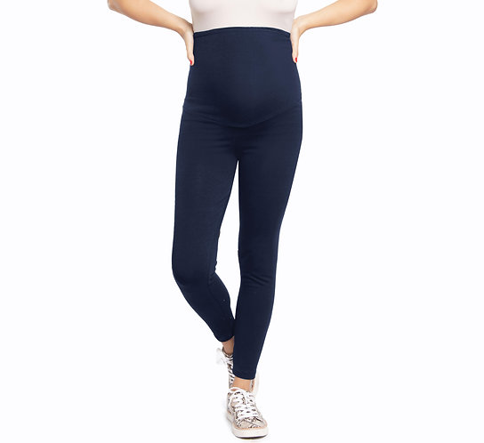 Basic Stretch Cotton Over The Bump Leggings-Navy