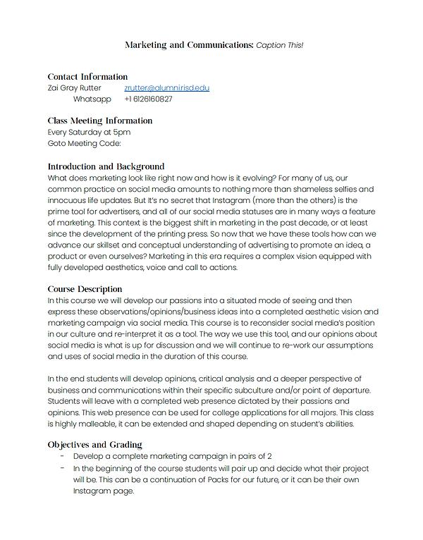 Marketing and Communications Syllabus