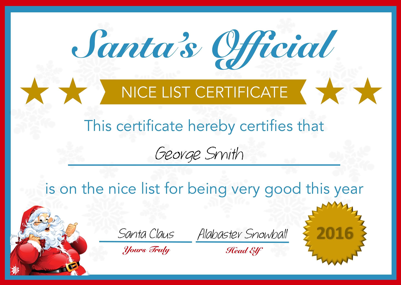 Santa Certificate Doc Santa Claus Certificate Template Printable