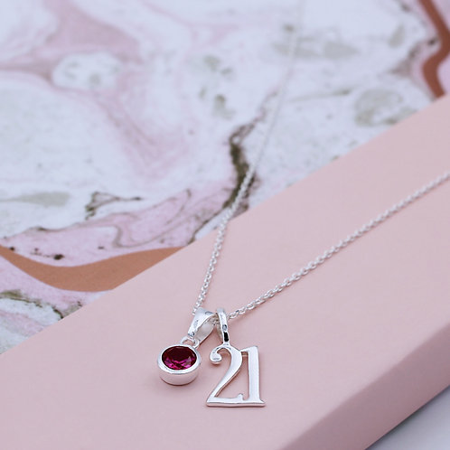 Sterling Silver Twenty-one Birthstone Necklace