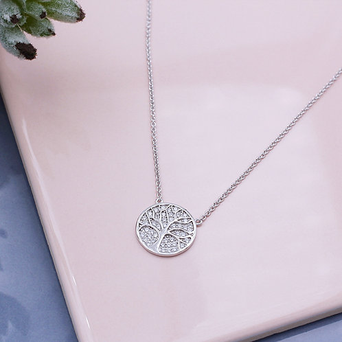 Sterling Silver Stone Set Tree of Life Necklace