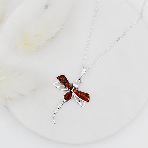 Dragonfly Necklace in Solid Sterling Silver set with Amber