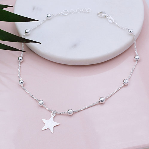 Sterling Silver Personalised Beaded Star Anklet