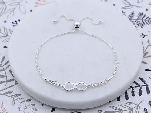 Sterling Silver Infinity Cubic Zirconia Slider Bracelet