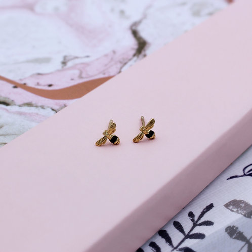 18ct Yellow Gold Vermeil Tiny Bumble Bee Studs set with Black stones