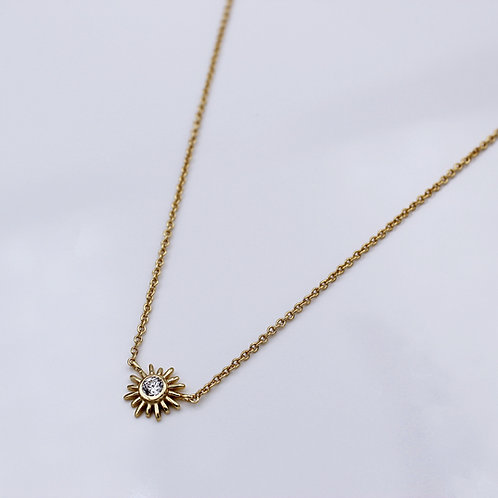 18ct yellow Gold vermeil cubic zirconia Sun Necklace
