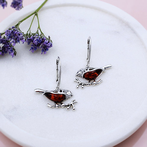 Robin Earrings in Solid Sterling Silver set with Amber