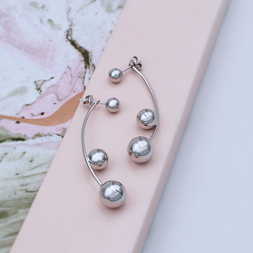 Sterling Silver Ball stud with double-beaded bar drop Earrings