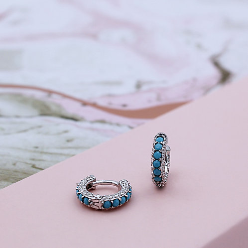 Sterling Silver Turquoise and Cubic Zirconia mini hinged huggie earrings