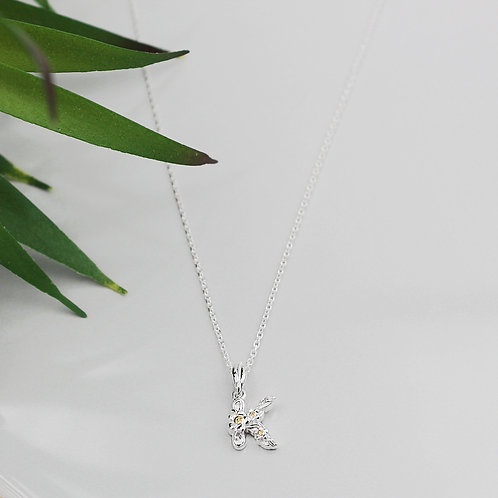 Pretty Sterling Silver and Gold Flower Initial Necklace
