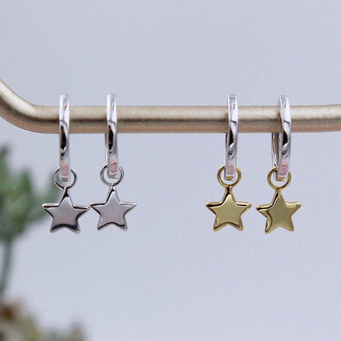 Sterling Silver and 18ct Yellow Gold Vermeil plain Star Huggie Hoop