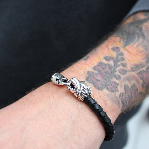 Mens Leather Bracelet with Silver Lion Head Clasp