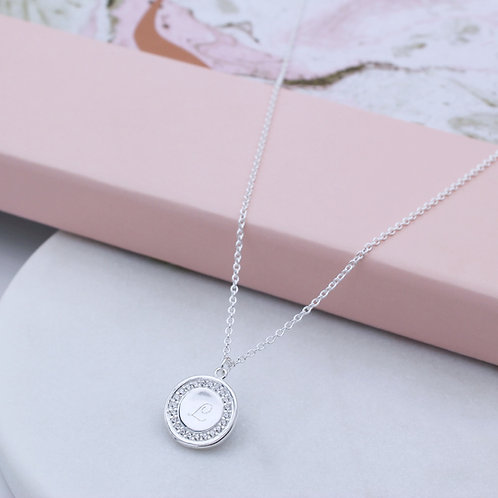 Sterling Silver Personalised Cubic Zirconia Round Pendant Necklace