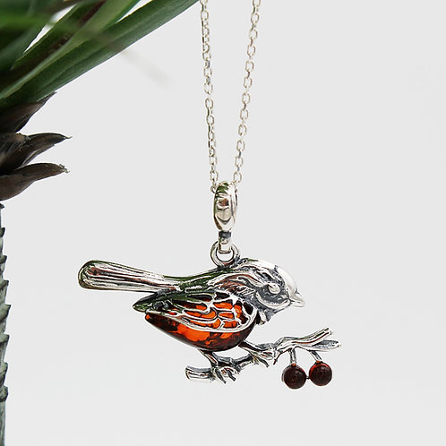 Robin Necklace in Solid Sterling Silver set with Amber