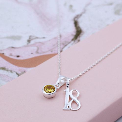 Sterling Silver Eighteen Birthstone Necklace