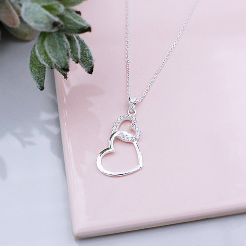 Sterling Silver Stone Set Intertwined Double Heart Necklace