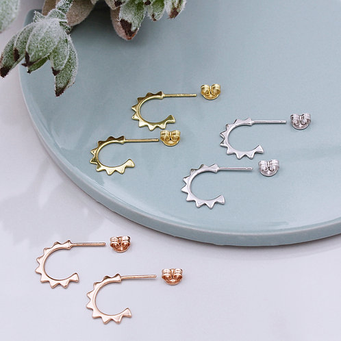 Sterling Silver, 18ct Yellow or Rose Gold Vermeil Sun Stud hoops