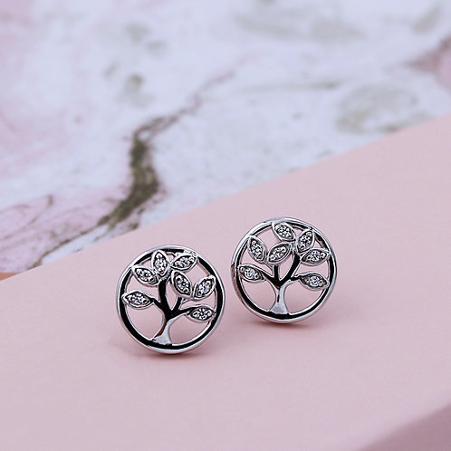 Sterling Silver Cubic zirconia Tree of Life Circle Studs