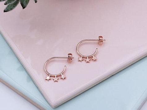 Rose Gold vermeil Star Stud hoop Earrings