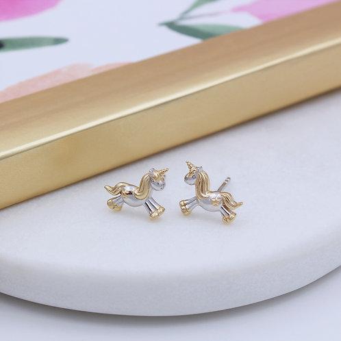 Silver & 18ct Yellow Gold vermeil Starshine Unicorn Stud Earrings