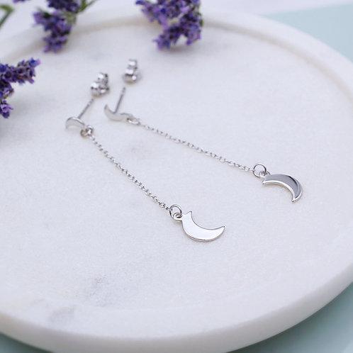 Sterling Silver Crescent Moon Drop Earrings