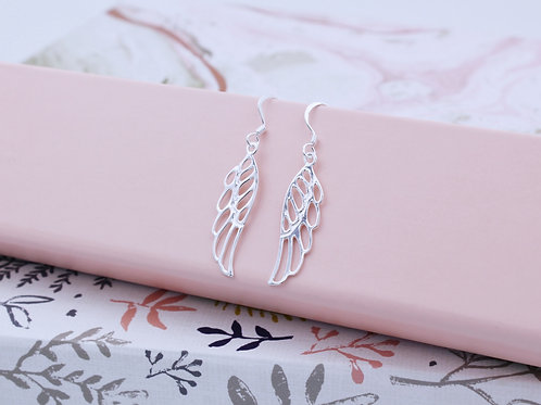 Sterling Silver Open Angel Wing Hook-in Drop Earrings