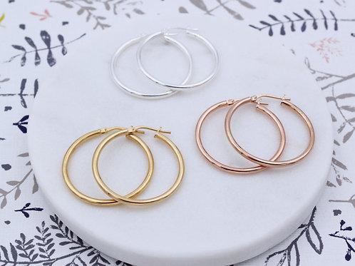 Sterling Silver, 18ct Yellow or Rose Gold Vermeil Hoop Earrings