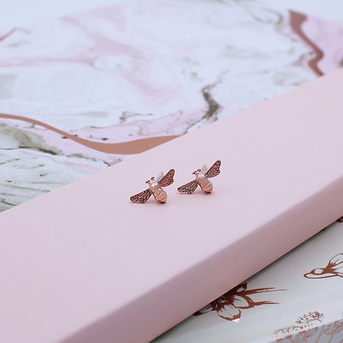 18ct Rose Gold Vermeil Bumble Bee Stud Earrings