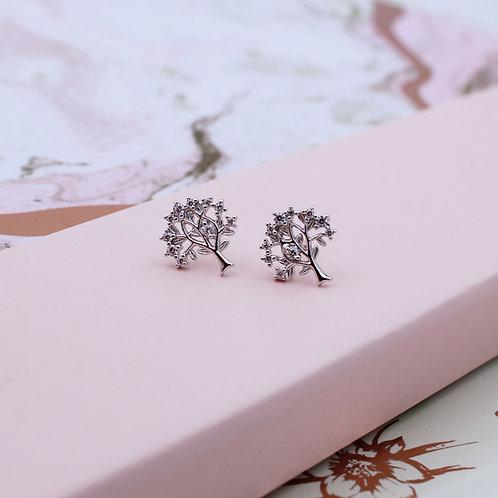 Sterling Silver cubic zirconia Tree of Life Stud Earrings