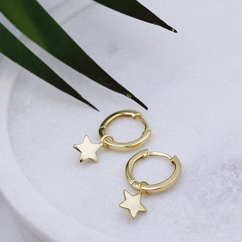 Yellow Gold plated Sterling Silver  Star Huggie Hoop Earrings