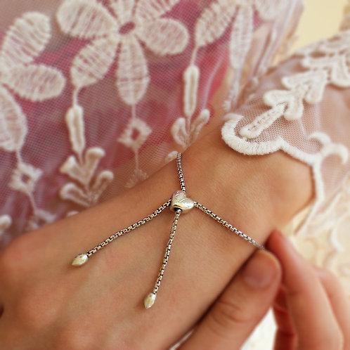 Sterling Silver Heart Personalised Slider Bracelet