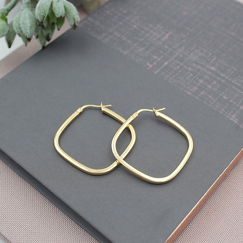 Yellow Gold vermeil Square Hoop Earrings