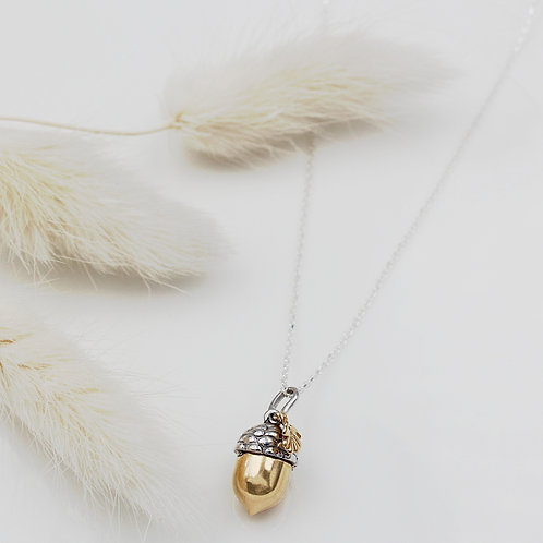 Silver and Yellow Gold plated Acorn Necklace