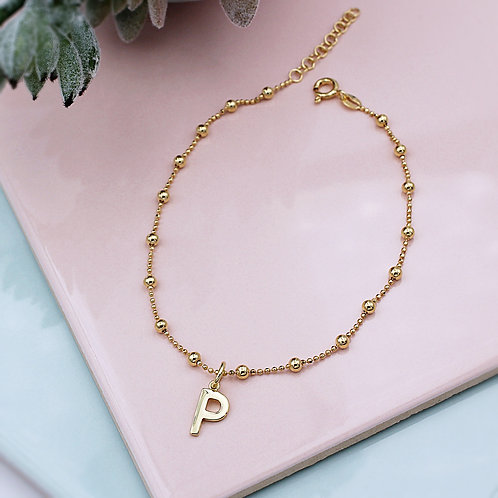 18ct Yellow Gold vermeil Initial Ball Anklet